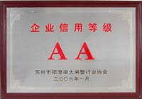 巴仙蟹王荣获企业信用等级AA单位称号